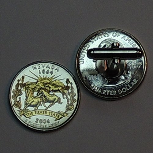 Nevada Statehood Quarter - Gorgeous 2 Toned (Uniquely Hand Done) Gold on Silver coin cufflinks for men - men's jewelry men's accessories for him groomsmen by J&J Coin Jewelry