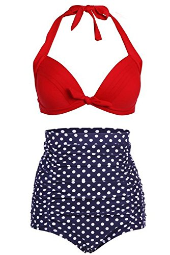 Labaqiangj Bikini Fashionable Sexy Women's Vintage High Waist Retro Bikini Swimsuit Set Swimwear Charming JBlueBottomXXXX-Large