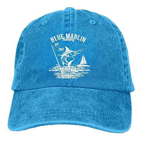 Funny Blue Marlin Fishing Logo Unisex Baseball Hat Cowboy Cap Sun Hats Trucker Hats (Blue Marlin Fishing)