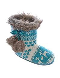 Childrens Girls Reindeer Pattern Knitted Winter Boot Slippers