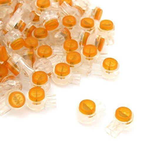 VNDEFUL 100 x Air Tight Orange Clear Button Cable UY Data Wire Butt Splice Connectors