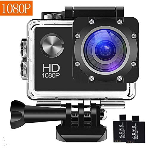 Action Camera, 12MP 1080P 2 inch LCD Screen, Waterproof Sports Cam 120 Degree Wide Angle Lens, 30m Sport Camera DV Camcorder with with 2 Rechargeable Batteries and Mounting Accessories Kit (Black Wide Angle Digital Camera)