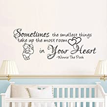 "Wall Decal Decor Winnie The Pooh Wall Decals Quotes- Sometimes The Smallest Things- Winnie And Piglet Wall Decals Nursery Kids Room Decor (Black, 8.5""h x22""w)"