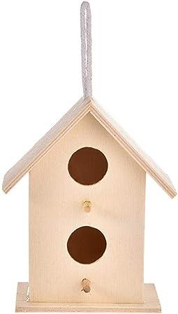 Ntribut Caja De Nidificación De Aves Pájaros Jaulas Jardín Doble Techo Inclinado Pájaro Nido Casa De Madera Casa De Aves Refugio para Todo Tipo De Aves: Amazon.es: Hogar