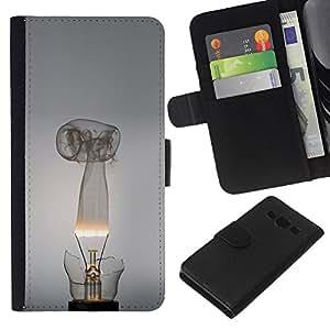 KLONGSHOP // Tirón de la caja Cartera de cuero con ranuras para tarjetas - Broken bombilla - Samsung Galaxy A3 //