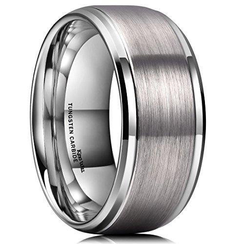 King Will Basic 10mm Tungsten Carbide Wedding Ring Matte Finished Wedding Band for Men Women(9)