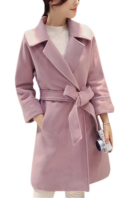 Allbebe Women's Elegant Notch Collar Open Front Belt Pockets Warm Long Wool Coat