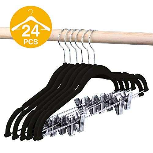 (HOUSE DAY Velvet Skirt Hangers - Pack of 24 - Velvet Hangers with Clips Ultra Thin Non Slip Velvet Pants Hangers Space Saving Clothes Hanger (Black) )