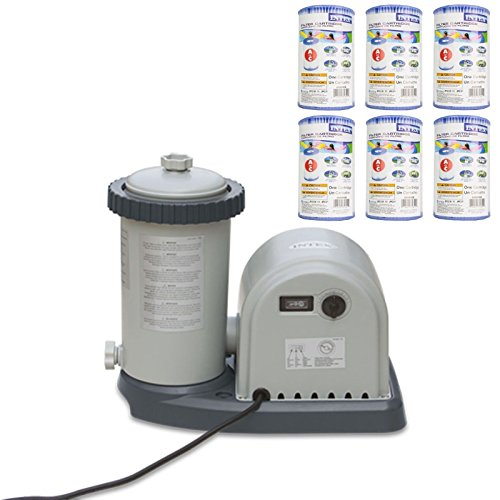 INTEX 1500 GPH Easy Set Pool Filter Pump w/ GFCI & 6 Type A Filter Cartridges