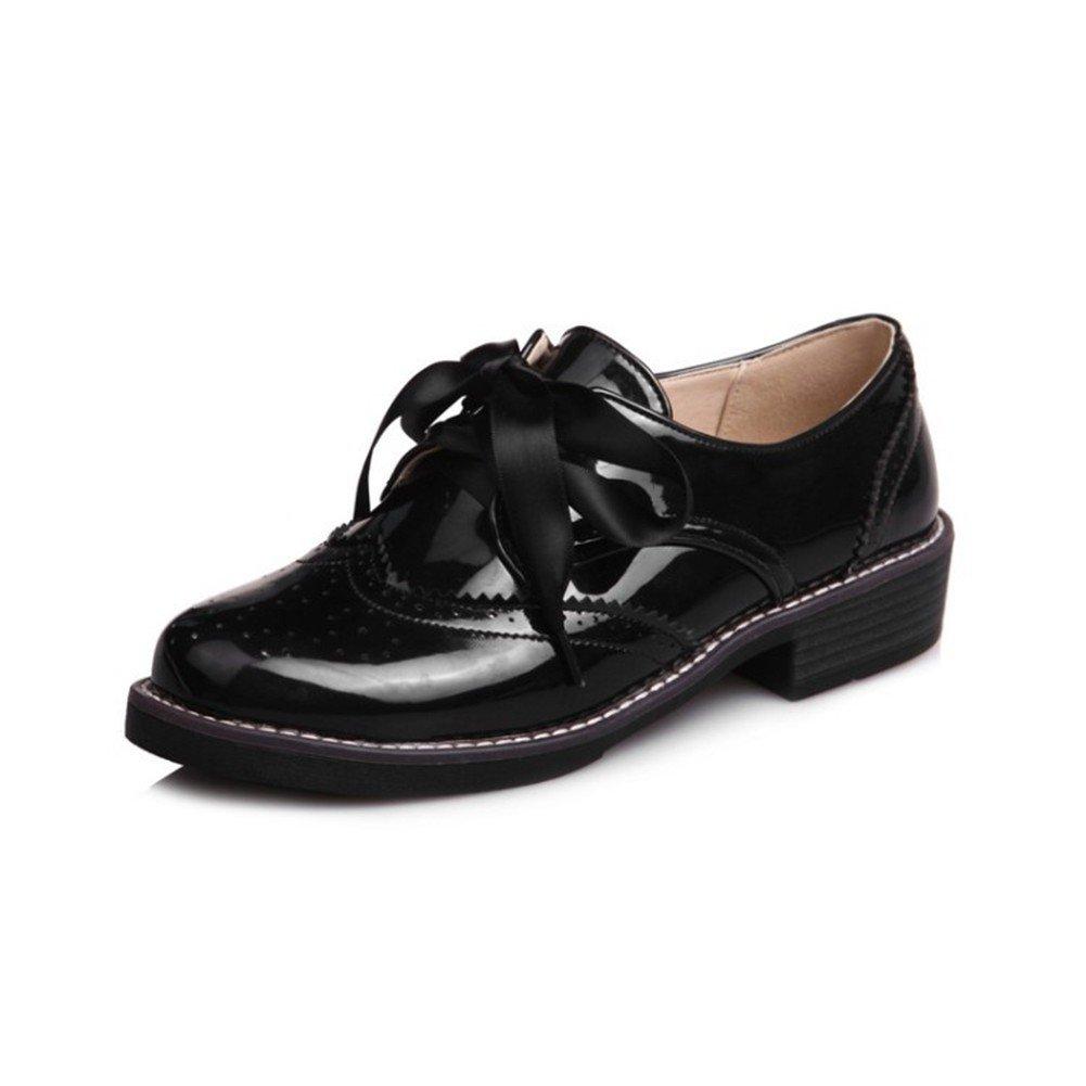 Scarpe Basse da Donna Tacco Basso Scarpe col Tacco Alto da College  Black