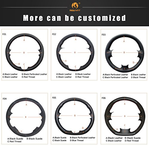 MEWANT DIY Hand Sewing Black Genuine Leather Black Suede Steering Wheel Cover Hand-Stitch on Wrap Cover for BMW 5 Series G30 G31 2017-2019/6 Series GT G32 2018-2019/7 Series G11 G12 2016-2019 / X3