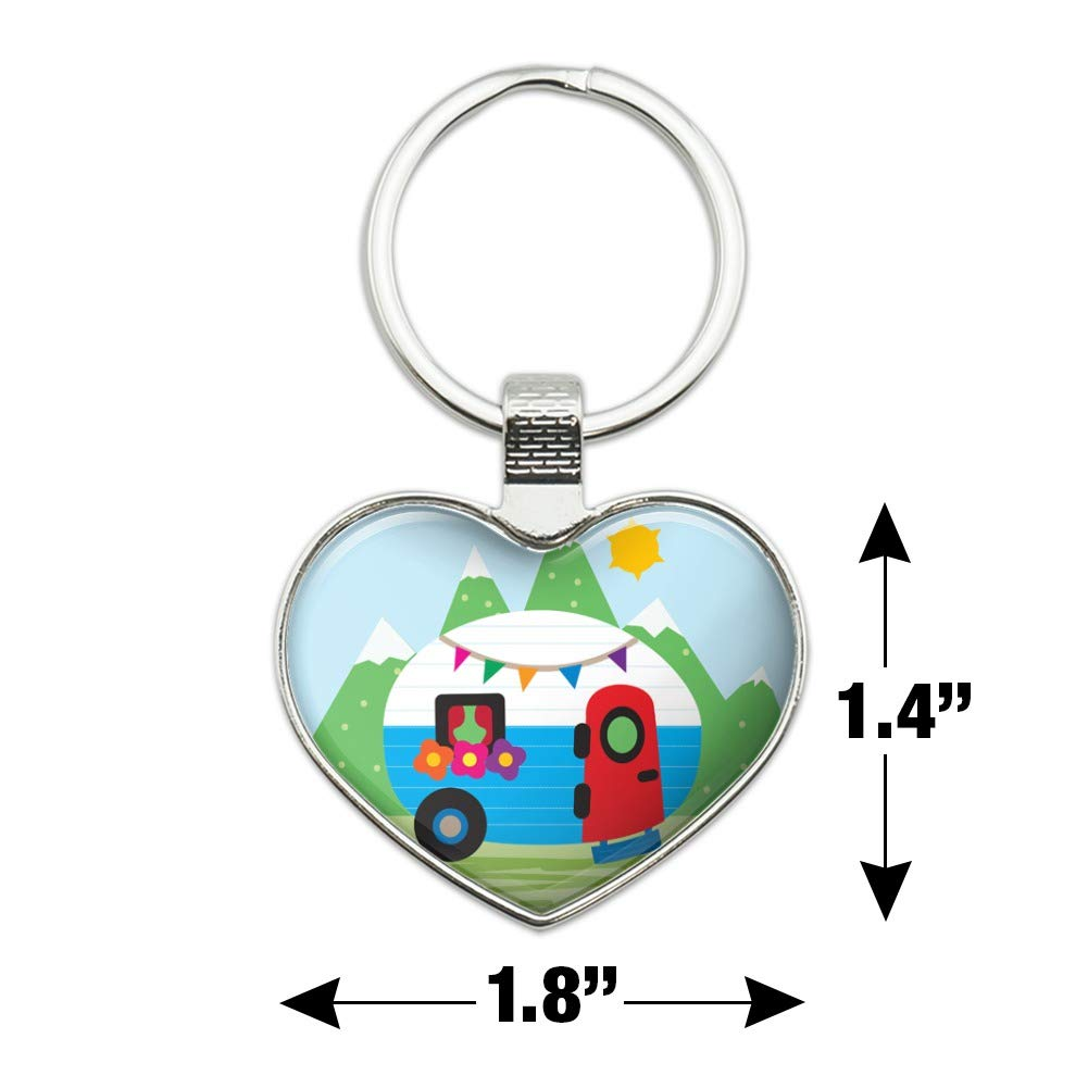 Vintage Retro Camper RV Camping Travel Trailer Keychain Heart Love Metal Key Chain Ring