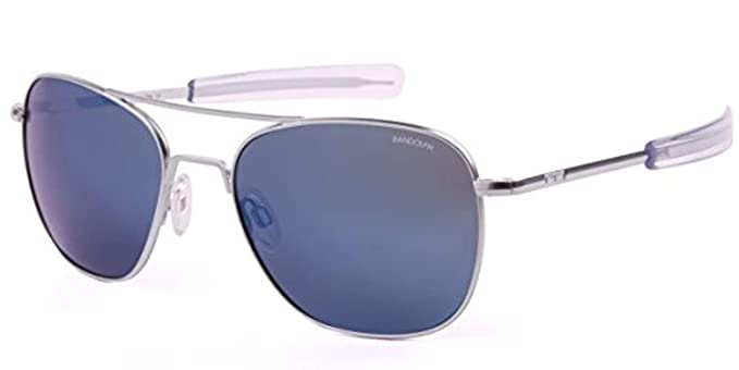 31f21886c9 Randolph Designer Aviator Sunglasses AF158 in Matte Chrome with Blue Mirror  Lenses  Amazon.co.uk  Clothing