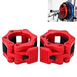 Ahyuan Pack of 2PCS Quick Release Olympic Size Barbell Clamp Collar Lock Red (Inner Diameter 2-inch)