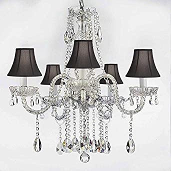 AUTHENTIC ALL CRYSTAL CHANDELIERS LIGHTING EMPRESS CRYSTAL TM CHANDELIERS WITH BLACK SHADES H27 X W24