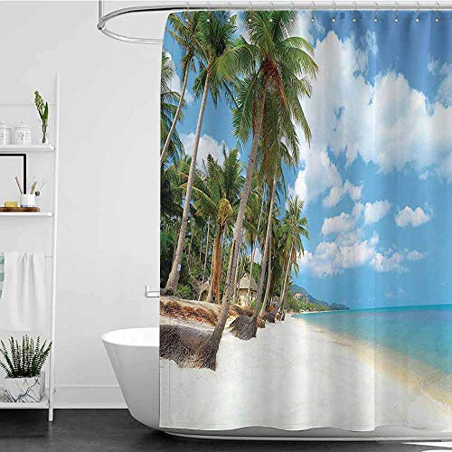shower curtains longer than 72 inches Ocean Decor Collection,Tropical Beach View with Exotic Palm and Clean Sand by the Sea Hawaii Style Paradise,Cream Blue Green W72