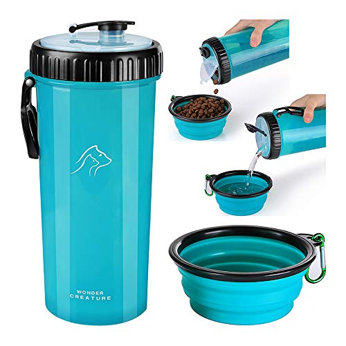 Wonder Creature Dog Food and Water Bottle 2 in 1 Dual Chambers Portable Bottle with Collapsible Bowl