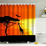 Safari Giraffe Shower Curtain Set, African Sunset Wildlife Landscape Print Art,Waterproof Fabric Bathroom Shower Curtain,Bathroom Decor Accessories Set,Orange, Black,Yellow,72 x 72 inch (Picture 3)