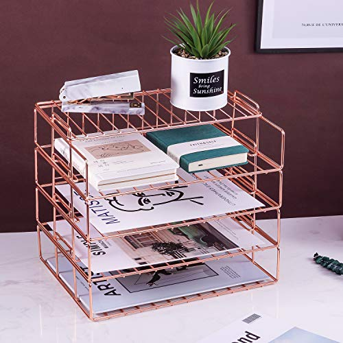 DEDC 1 Pack Rose Gold Desk Organizer with Drawer Mesh Metal Multi-Use Stationery Desktop Organizer for Office Supplies and Desk Accessories
