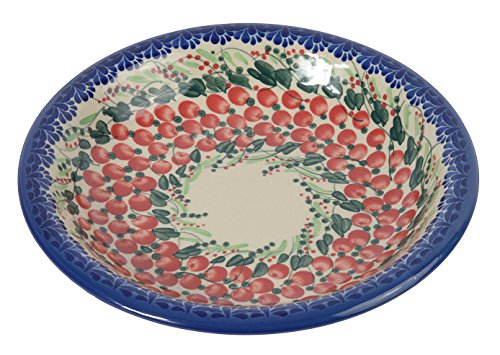 Traditional Polish Pottery, Handcrafted Ceramic Soup or Pasta Plate 22cm, Boleslawiec Style Pattern, T.201.Cranberry