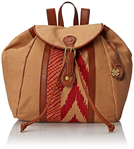 Lucky Brand Kendal Washed Linen Backpack, Sand/Pomegranate, One Size by Lucky Brand