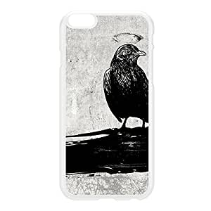 Black Grunge Crow Bird on Light Gray White Hard Plastic Case for iPhone 6 Plus by UltraCases + FREE Crystal Clear Screen Protector