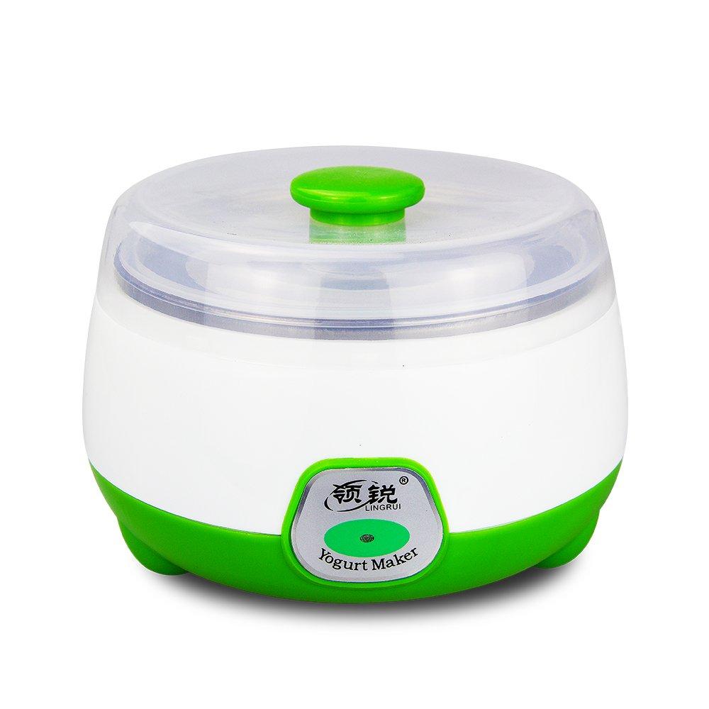 Automatic Digital Yogurt Maker to customize your taste, mini yogurt maker, food grade stainless steel and food grade PP plastic 1.L (green)