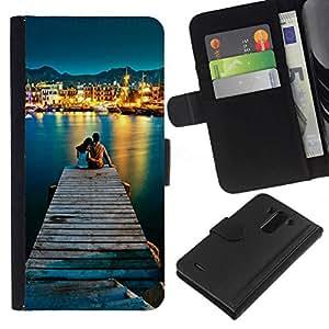 NEECELL GIFT forCITY // Billetera de cuero Caso Cubierta de protección Carcasa / Leather Wallet Case for LG G3 // AMOR POR EL MAR