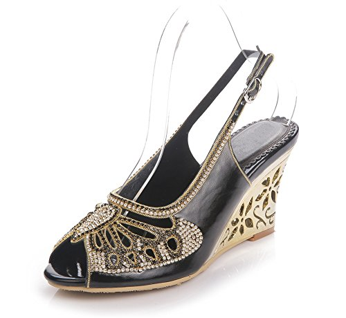 36 sandali Scarpe Donna anno EUR Le Cinghia Festa Ballo Diamante Cuneo Nero Tacco Caviglia ZPL Vestito UK di Nozze signore fine Dimensione 4 wFdaxRdXq