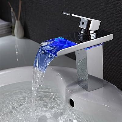 LightInTheBox LED Brushed Nickel Bathroom Sink Faucet Water Flow,Single Handle Single Hole Vessel Lavatory Faucet,basin Mixer Tap
