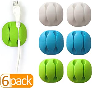 Cable Clips Desktop Color(6 Pack),Wire Clips Desk,Wire Holder for Table,Car,Wall,Computer,Phone Charging Cable,USB Cable,Mouse,Headphone,Office,Cubicle,ect.(Great for Small Cable or Wire)