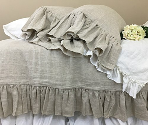 Natural Linen Duvet Cover with Mermaid Long Ruffles, Linen Ruffle Bedding, Ruffle Duvet Cover, Shabby Chic Bedding, FREE SHIPPING