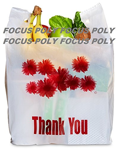 1000ct Red Daisy Flower Thank You Large T-shirt Carry out Bags 11.5'' X 6.25'' X 21'' Plastic Grocery Bags