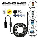 WiFi Endoscope,SGODDE 2MP HD Waterproof Inspection Camera Borescope  Inspection Camera with 8mm Diameter 5 Meter Tube for iP