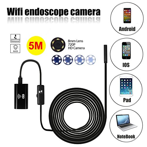 WiFi Endoscope,SGODDE 2MP HD Waterproof Inspection Camera - Borescope Inspection Camera with 8mm Diameter 5 Meter Tube for iPhone /IOS/Android Phone / Tablet Computer and Windows (5M)