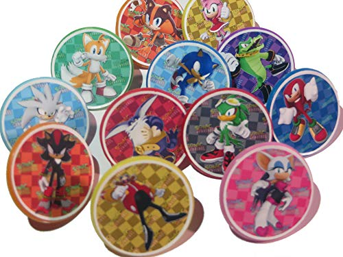 Sonic Characters Cupcake Ring Toppers, Birthday, 12CT, Hedgehog, Knuckles
