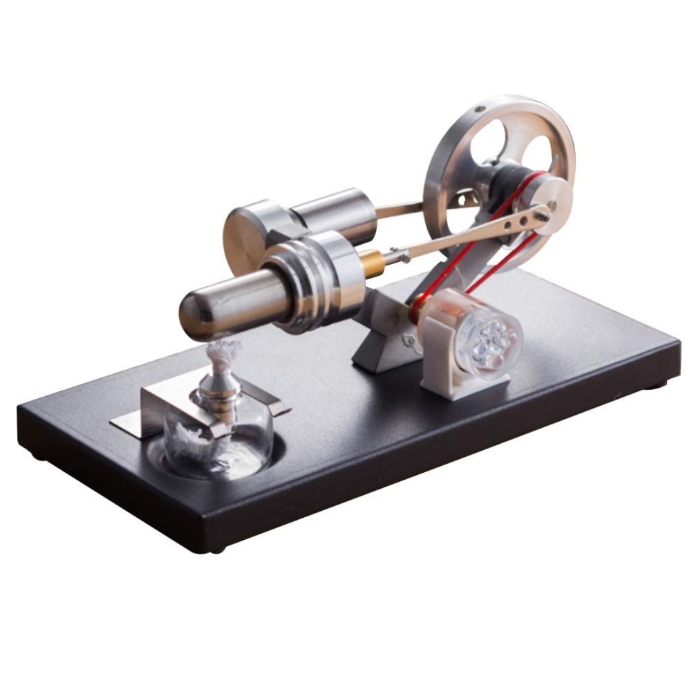 At27clekca Hot Air Stirling Engine Motor Model Physical Science Toy Electric Generator Colorful LED by At27clekca