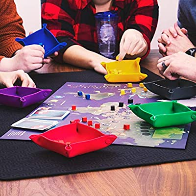 Piecekeeper Board Game Storage Bowls, 6-Pack | Portable Folding Tray Accessory Holds Tabletop Bits, Chits, Components, Pieces, Dice | Six Color Set | Classic & Modern Gaming, RPG Roleplaying: Toys & Games