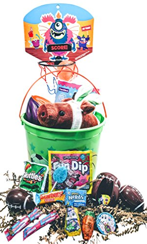 Easter Bucket Basket: Prefilled- Boys Sports Activity, Candy and Toy Classic Easter Gift Basket Bundle(Football)
