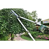 Worth Garden Telescopic Hedge Shear, Extendable Long Reach Clipper, Long Arm Pruning Shears w/ Antirust Teflon Blade, Adjustable Knobs, Buffer Cushion, Aluminium Alloy Tube 'N Ergonomic TPR Grip