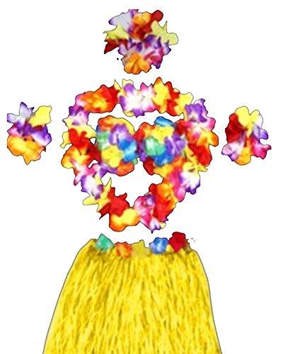 JUNGEN 6pcs Falda de Hierba de Hula con Flores Disfraces Guirnalda ...