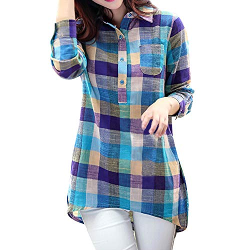 Women Lapel Shirt Casual Matching Color Long Sleeve Button Loose Plaid Shirt Blouse Pocket Top Blue