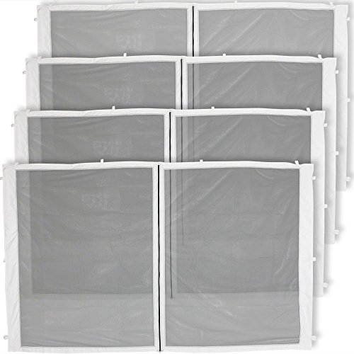Zippered Mesh Sidewall Kit for 10x10ft Straight-Leg Canopies, 4-Panels All Zippered Entries by Sunnydaze Decor
