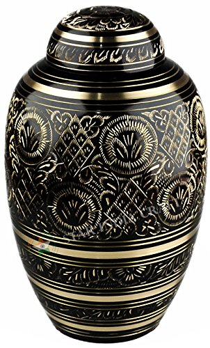 (STAR INDIA CRAFT Beautiful and Timeless Adult Cremation Urn for Human Ashes - This Large Brass Etched Urn is a Perfect Tribute to Honor Your Loved One - Funeral Urn for Ashes 250 Cu/in)