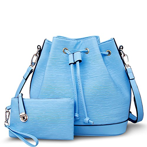 FAIRYSAN Bolso al hombro para mujer azul azul agua Bolsa para niños set 2 juegos de gran capacidad a prueba de agua bolso ligero bandolera retro azul agua