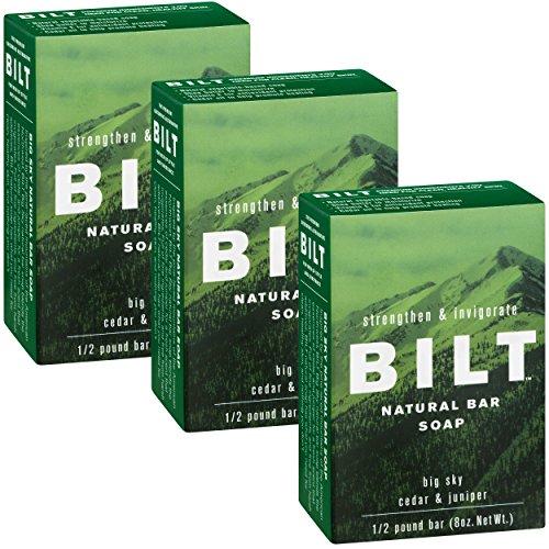 BILT Natural Bar Soap for Men 8 oz, Big Sky - Cedar & Juniper (3 Bars)