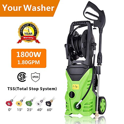 Aceshin Electric Power Pressure Washer, 3000 PSI 1.80 GPM Electric Pressure Washer, High Pressure Cleaner with Hose Reel (US Stock)