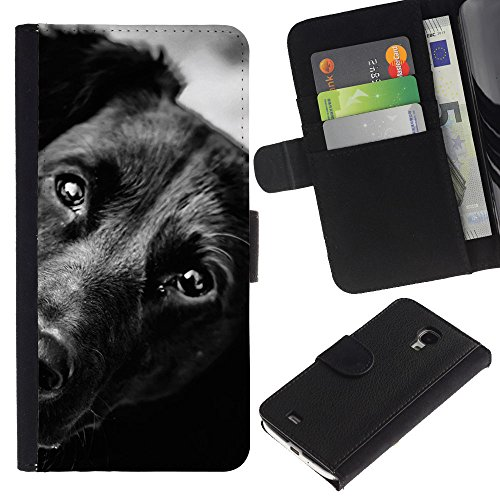 EuroCase - Samsung Galaxy S4 Mini i9190 MINI VERSION! - black mutt mongrel dog face muzzle - Cuero PU Delgado caso cubierta Shell Armor Funda Case Cover