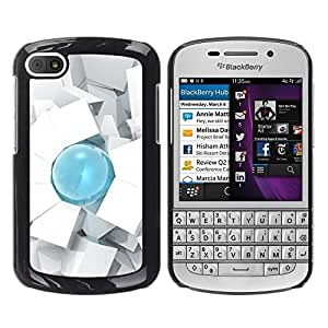 Be Good Phone Accessory // Dura Cáscara cubierta Protectora Caso Carcasa Funda de Protección para BlackBerry Q10 // Drop 3D Art Cube Polygon White