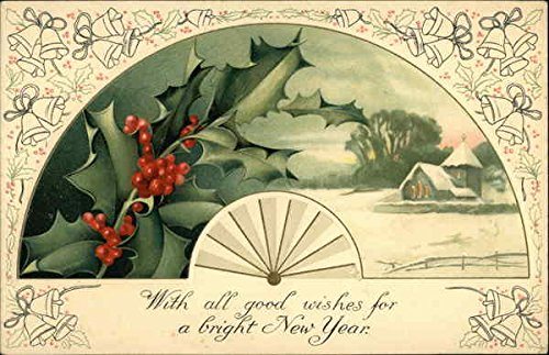 With all Good Wishes for a Bright New Year Fans Original Vintage Postcard